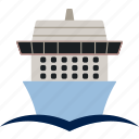 boat, cruise, flat, liner, ocean, ship, water icon