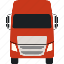 delivery, flat, lorry, semi, trailer, transportation, truck icon