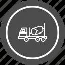 concrete, construction, heavy, mixer, truck, work icon