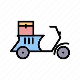 box, cargo, delivery, logistics, motorbike, package, transportation icon