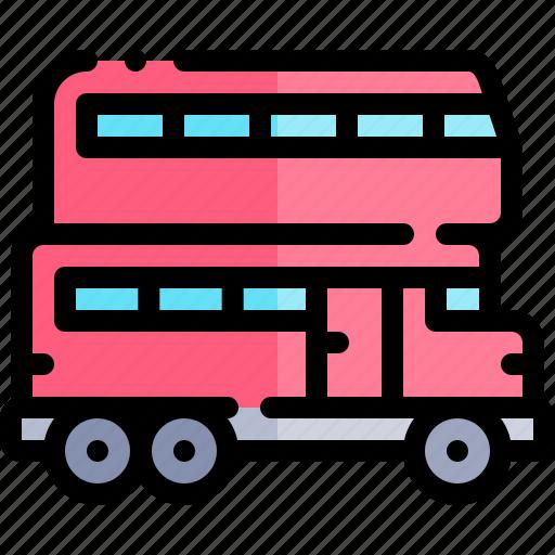 decks, double, transport, transportation, vehicle icon