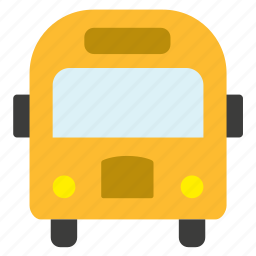 bus, conveyance, school, transport, vehicle, yellow icon