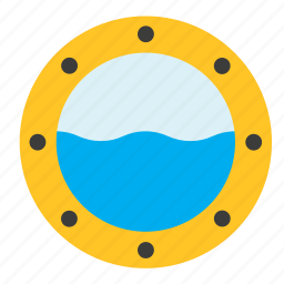 boat, porthole, sea, ship, transport, window icon