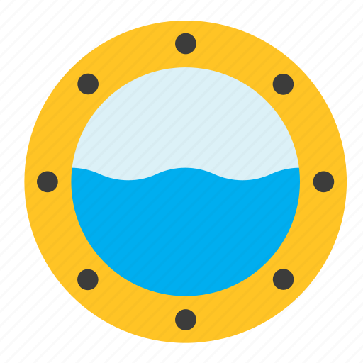 boat, porthole, sea, ship, transport, window icon