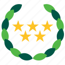 five, hotel, olive, stars, tourism, travel, wreath icon