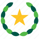 tourism, travel, hotel, olive, star, wreath icon