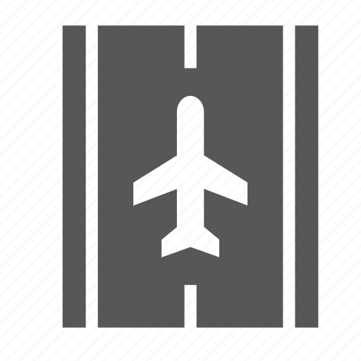 airplane, airport, landing, plane, track, transport, travel icon