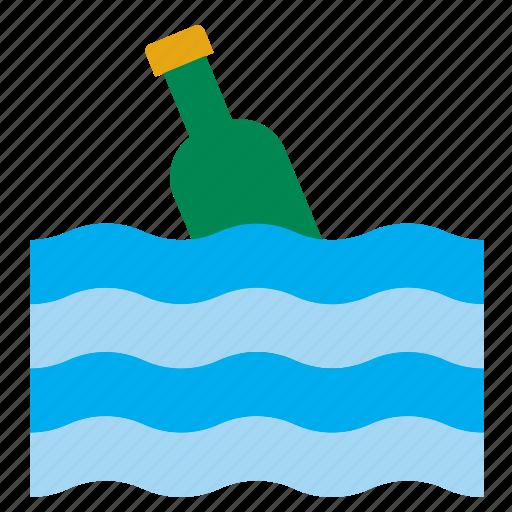 bottle, glass, shipwreck, shipwrecked, survivor, water, wine icon