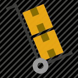 box, cardboard, move, transport, wheelbarrow icon