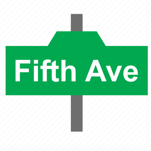 avenue, fifth, new york, sign, street, tourism, travel icon