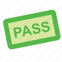 pass, ticket, tourism, transport, travel icon