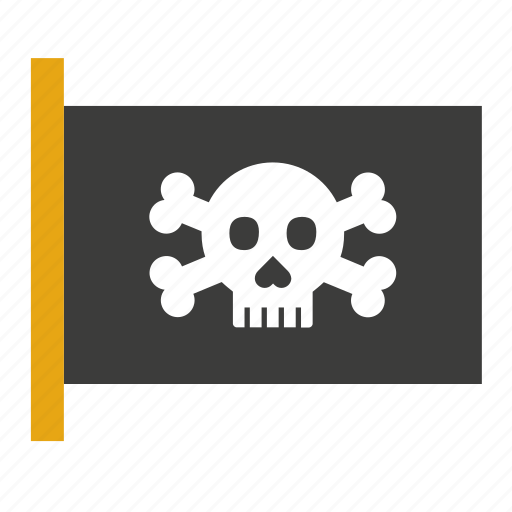 boat, bones, flag, pirate, ship, skull, transport icon