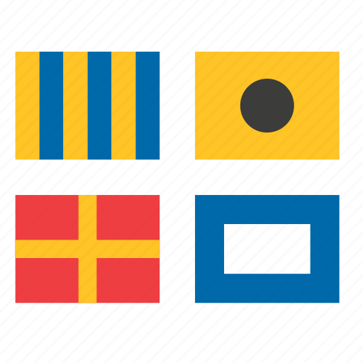 flags, international, maritime, navigation, ship, signal, transport icon