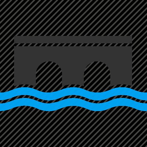 bridge, connect, connection, construction, river, road icon