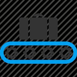 bag, baggage, baggage conveyor, briefcase, carry, luggage transportation, registration icon