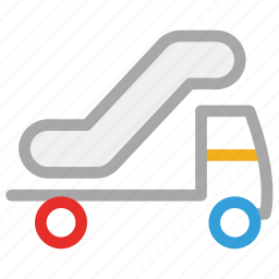 airport service, airport truck, passenger stairs, plane boarding icon