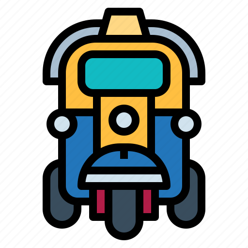 rickshaw, three, tourism, transportation, tuk, wheeler icon
