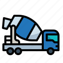 cement, construction, mixer, tools, truck icon