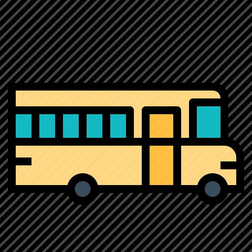 automobile, bus, public, school, student, transport icon