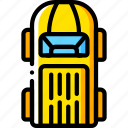 car, motor, top, transportation, van, vehicle, yellow icon