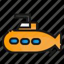 submarine, transport, transportation icon