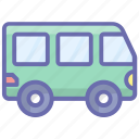 automobile, bus, omnibus, transport, van, vehicle icon