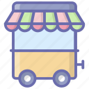 food street, hawker vendor, ice cream vendor, seller cart, street vendor, vendor cart icon