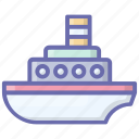boat, cargo ship, cruise ship, ship, vehicle, water transport icon