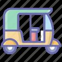 auto rickshaw, local auto, public transport, three wheeler, tuk tuk icon