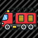 emergency transport, fire brigade, fire control transport, fire department, fire engine, fire truck icon