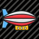 adventure, air blimp, aircraft, airship, dirigible, fire balloon, parachute airship icon