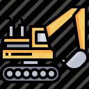 bulldozer, excavate, transportation, excavator, construction