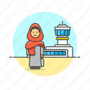 air, airport, arab, fly, passenger, transit, transportation, woman icon