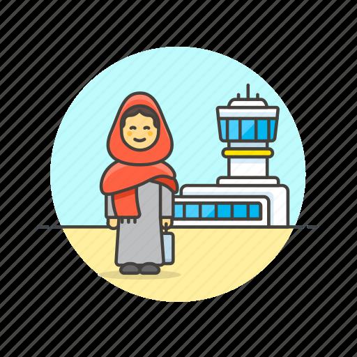 air, airport, arab, fly, passenger, transit, transportation, woman icon