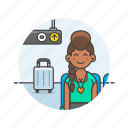 air, baggage, fly, passenger, transit, transportation, travel, woman icon