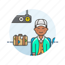 air, baggage, fly, man, passenger, transit, transportation, travel icon
