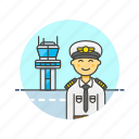 air, captain, plane, profession, tower, transit, transportation, travel icon