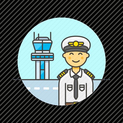 air, captain, plane, profession, tower, transit, transportation, travel icon