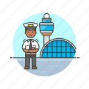 air, airport, captain, man, plane, profession, transportation, travel icon