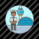 air, airport, captain, man, plane, profession, transportation, travel icon