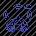 alarm, antenna, autonomous, car, cars, communication, mobile, road, signal, smart, transmitter, transportation icon