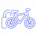bicycle, bike, land, lock, padlock, road, transportation icon