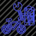 app, bicycle, bike, land, male, mechanic, phone, repair, road, service, transportation icon