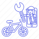 app, bicycle, bike, female, land, mechanic, phone, repair, road, service, transportation icon