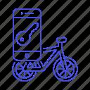 app, application, bicycle, bike, land, lock, phone, road, smark, smart, smartphone, transportation icon