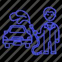 1, car, cleaning, hose, maintenance, male, service, transport, transportation, vehicle, wash icon