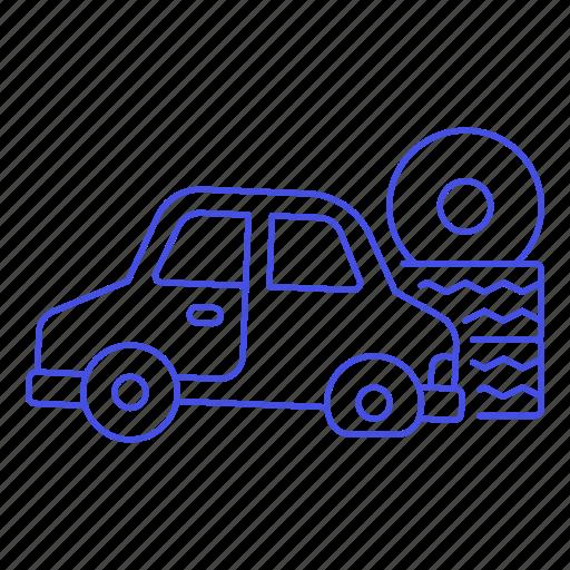 car, change, flat, land, repair, road, tire, transport, transportation, vehicle, vulcanizer icon