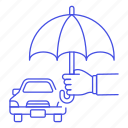 1, car, financial, hand, insurance, motor, protection, road, transportation, umbrella, vehicle icon