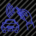 car, control, hand, key, land, lock, remote, road, security, transportation, unlock, vehicle icon