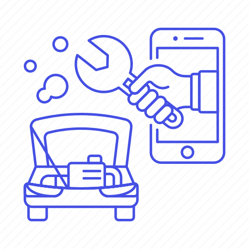 1, app, car, damage, engine, hand, mechanic, phone, repair, road, service, smoke, transportation icon